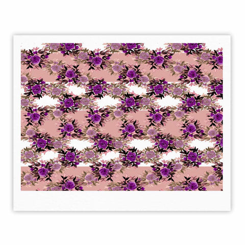 "Ebi Emporium ""CHEVRON ROSES, PURPLE PINK"" Purple,Pink,Floral,Pattern,Mixed Media,Watercolor Fine Art Gallery Print"
