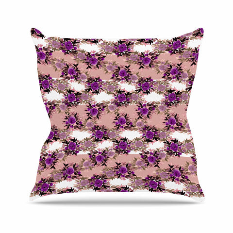 "Ebi Emporium ""CHEVRON ROSES, PURPLE PINK"" Purple,Pink,Floral,Pattern,Mixed Media,Watercolor Outdoor Throw Pillow"