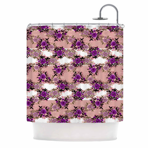 "Ebi Emporium ""CHEVRON ROSES, PURPLE PINK"" Purple,Pink,Floral,Pattern,Mixed Media,Watercolor Shower Curtain"
