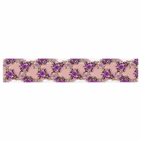"Ebi Emporium ""CHEVRON ROSES, PURPLE PINK"" Purple,Pink,Floral,Pattern,Mixed Media,Watercolor Table Runner"