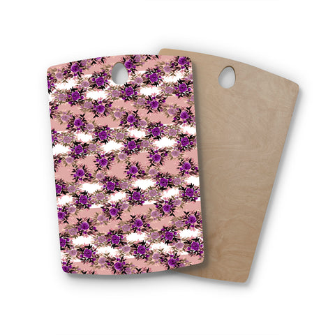"Ebi Emporium ""CHEVRON ROSES, PURPLE PINK"" Purple,Pink,Floral,Pattern,Mixed Media,Watercolor Rectangle Wooden Cutting Board"