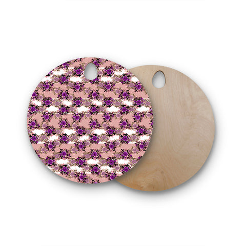 "Ebi Emporium ""CHEVRON ROSES, PURPLE PINK"" Purple,Pink,Floral,Pattern,Mixed Media,Watercolor Round Wooden Cutting Board"