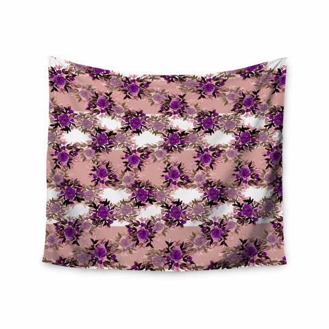 "Ebi Emporium ""CHEVRON ROSES, PURPLE PINK"" Purple,Pink,Floral,Pattern,Mixed Media,Watercolor Wall Tapestry"