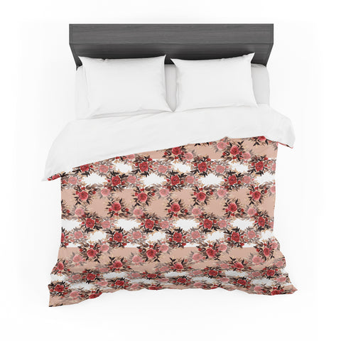 "Ebi Emporium ""CHEVRON ROSES, RED TAN"" Red,Tan,Floral,Pattern,Mixed Media,Watercolor Featherweight Duvet Cover"