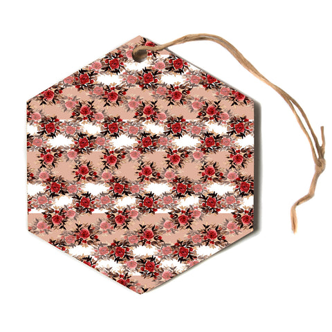 "Ebi Emporium ""CHEVRON ROSES, RED TAN"" Red,Tan,Floral,Pattern,Mixed Media,Watercolor Hexagon Holiday Ornament"