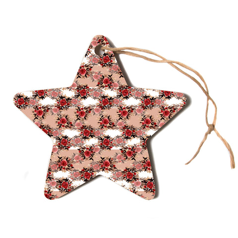 "Ebi Emporium ""CHEVRON ROSES, RED TAN"" Red,Tan,Floral,Pattern,Mixed Media,Watercolor Star Holiday Ornament"