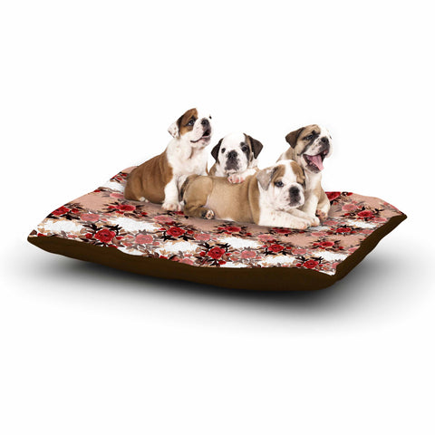 "Ebi Emporium ""CHEVRON ROSES, RED TAN"" Red,Tan,Floral,Pattern,Mixed Media,Watercolor Dog Bed"