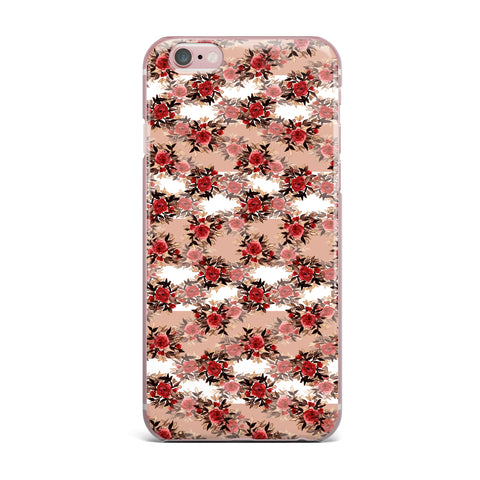 "Ebi Emporium ""CHEVRON ROSES, RED TAN"" Red,Tan,Floral,Pattern,Mixed Media,Watercolor iPhone Case"