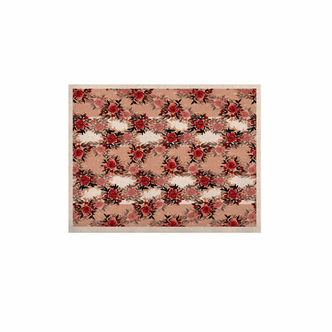 "Ebi Emporium ""CHEVRON ROSES, RED TAN"" Red,Tan,Floral,Pattern,Mixed Media,Watercolor KESS Naturals Canvas (Frame not Included)"