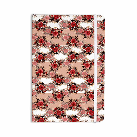 "Ebi Emporium ""CHEVRON ROSES, RED TAN"" Red,Tan,Floral,Pattern,Mixed Media,Watercolor Everything Notebook"