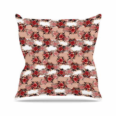 "Ebi Emporium ""CHEVRON ROSES, RED TAN"" Red,Tan,Floral,Pattern,Mixed Media,Watercolor Outdoor Throw Pillow"
