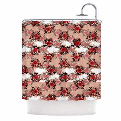 "Ebi Emporium ""CHEVRON ROSES, RED TAN"" Red,Tan,Floral,Pattern,Mixed Media,Watercolor Shower Curtain"