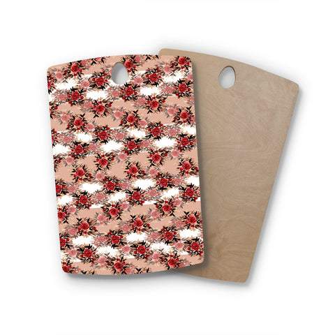 "Ebi Emporium ""CHEVRON ROSES, RED TAN"" Red,Tan,Floral,Pattern,Mixed Media,Watercolor Rectangle Wooden Cutting Board"