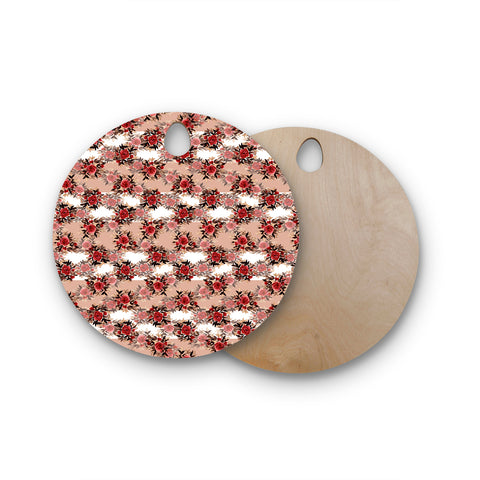 "Ebi Emporium ""CHEVRON ROSES, RED TAN"" Red,Tan,Floral,Pattern,Mixed Media,Watercolor Round Wooden Cutting Board"