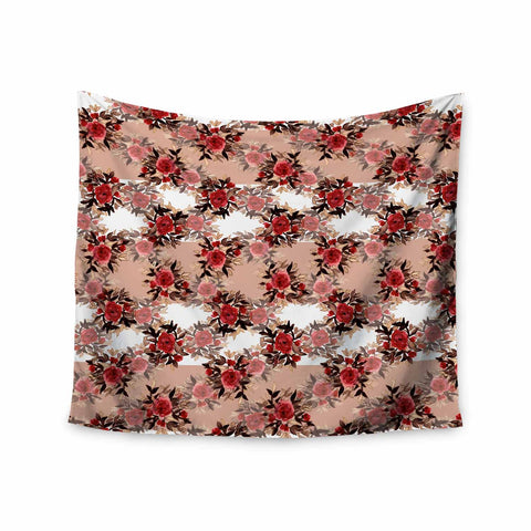 "Ebi Emporium ""CHEVRON ROSES, RED TAN"" Red,Tan,Floral,Pattern,Mixed Media,Watercolor Wall Tapestry"