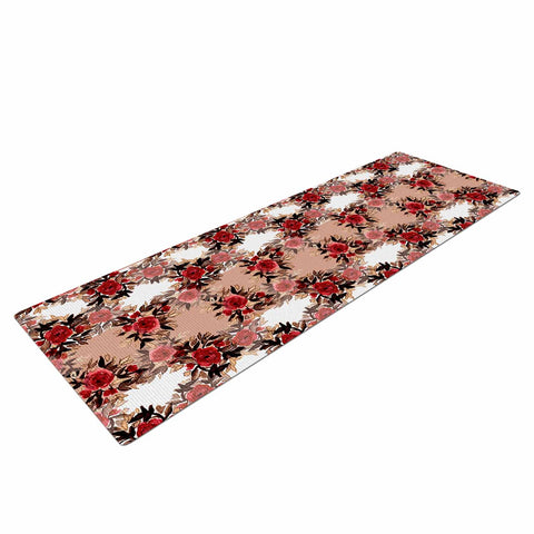 "Ebi Emporium ""CHEVRON ROSES, RED TAN"" Red,Tan,Floral,Pattern,Mixed Media,Watercolor Yoga Mat"