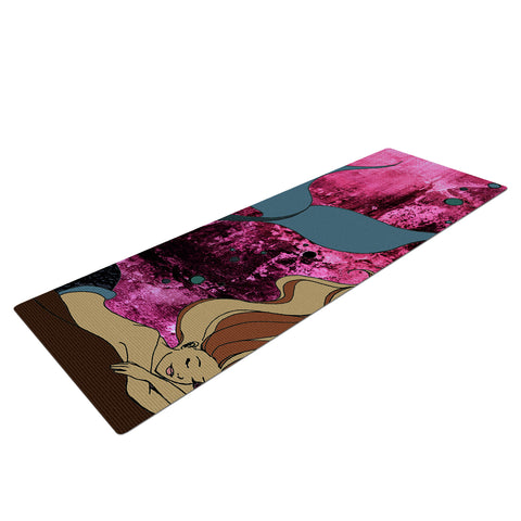 "Ebi Emporium ""MERMAID DREAMS 8"" Magenta Tan Illustration Mixed Media Fantasy Kids Yoga Mat"