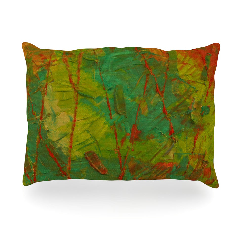 "Jeff Ferst ""Evergreens"" Green Red Oblong Pillow - KESS InHouse"