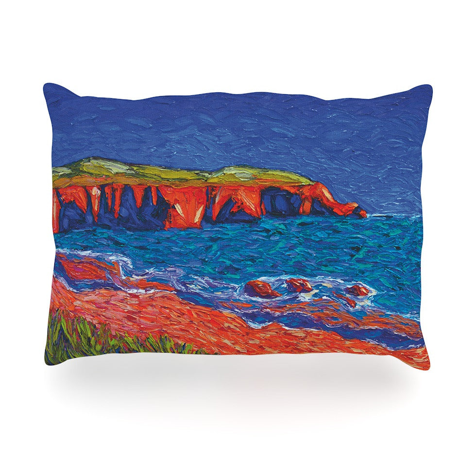 "Jeff Ferst ""Sea Shore"" Coastal Painting Oblong Pillow - KESS InHouse"