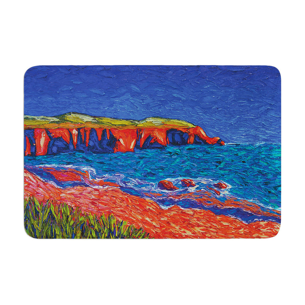 "Jeff Ferst ""Sea Shore"" Coastal Painting Memory Foam Bath Mat - KESS InHouse"
