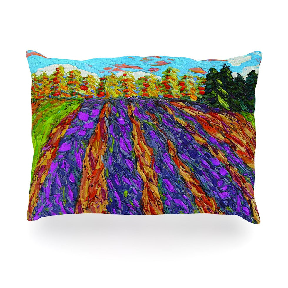 "Jeff Ferst ""Flowers in the Field"" Orange Purple Oblong Pillow - KESS InHouse"