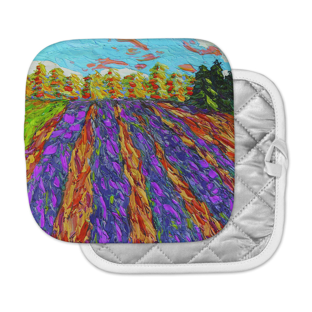 "Jeff Ferst ""Flowers in the Field"" Orange Purple Pot Holder"