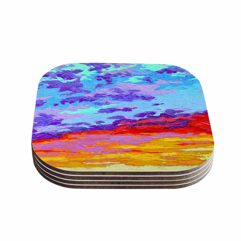 "Jeff Ferst ""Dancing Clouds"" Blue Sunset Coasters (Set of 4)"