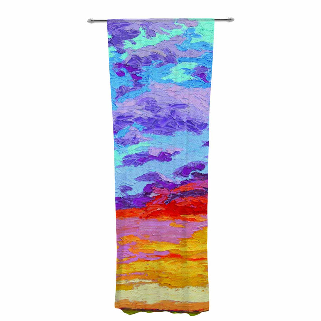 "Jeff Ferst ""Dancing Clouds"" Blue Sunset Decorative Sheer Curtain - KESS InHouse  - 1"