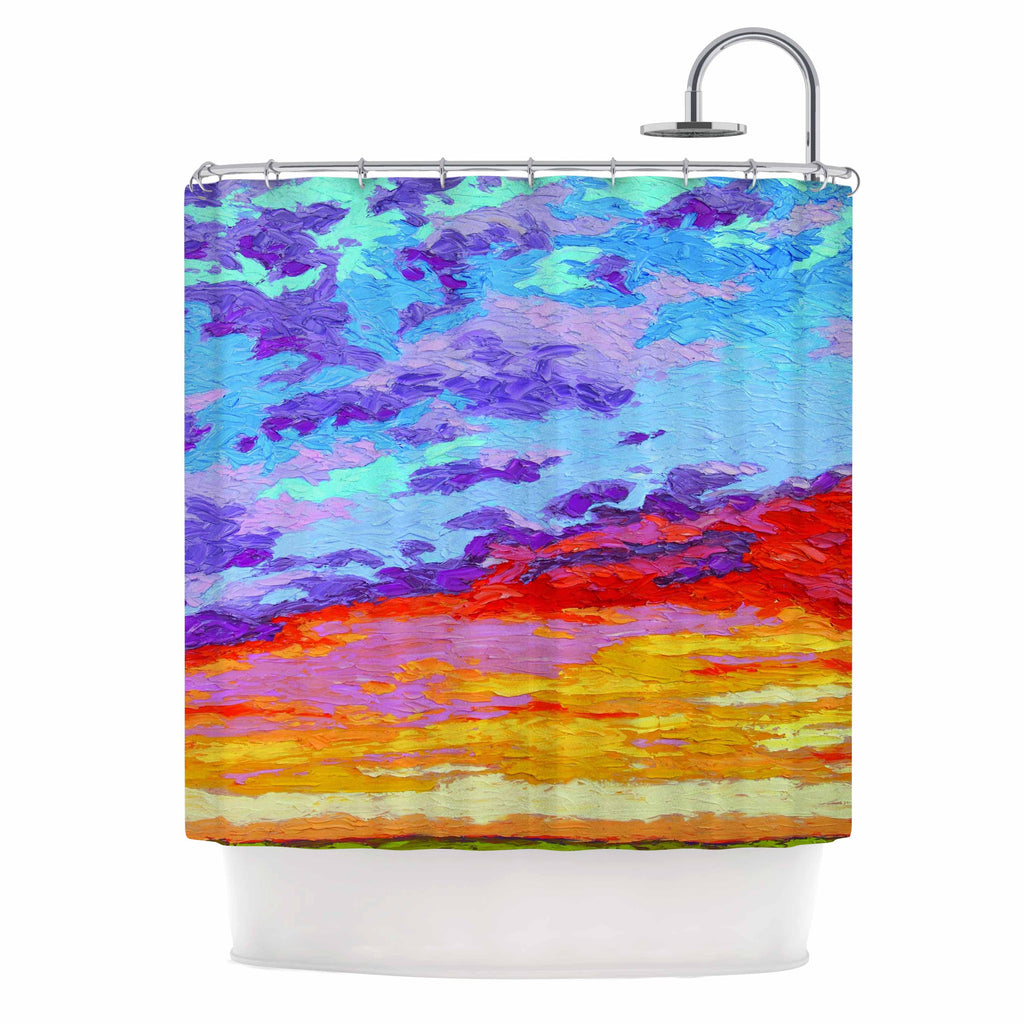 "Jeff Ferst ""Dancing Clouds"" Blue Sunset Shower Curtain - KESS InHouse"
