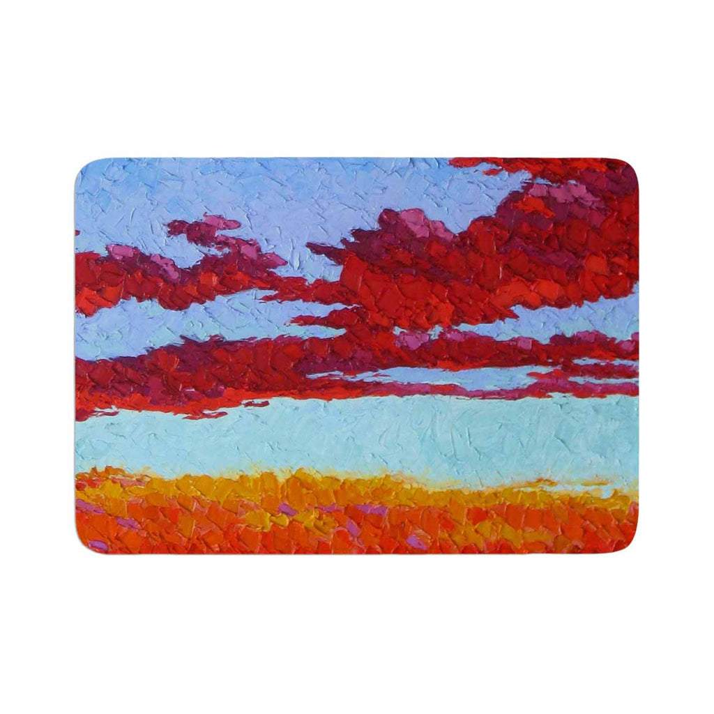 "Jeff Ferst ""Spring Sunset Over Wildflowers"" Red Blue Memory Foam Bath Mat - KESS InHouse"