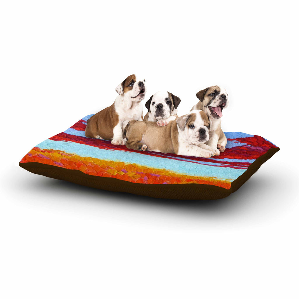 "Jeff Ferst ""Spring Sunset Over Wildflowers"" Red Blue Dog Bed - KESS InHouse  - 1"