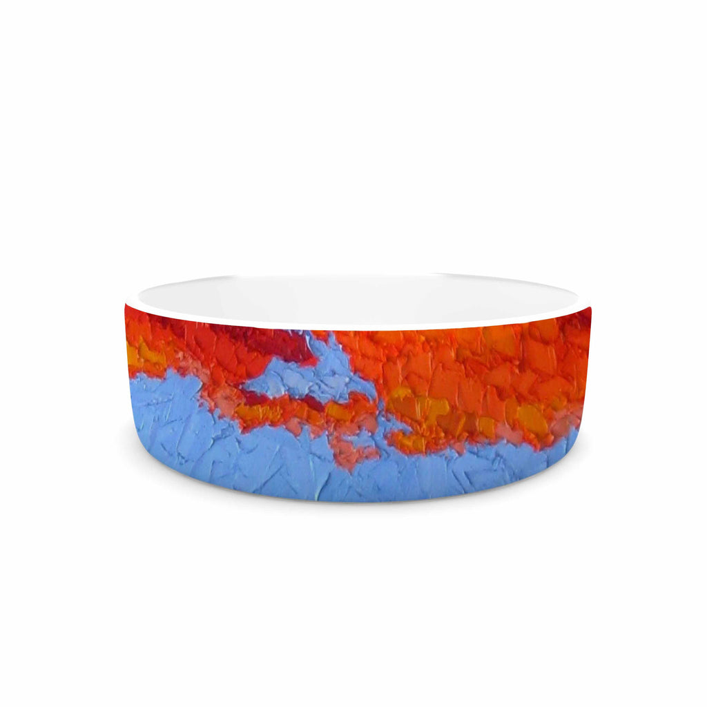 "Jeff Ferst ""Spring Sunset Over Wildflowers"" Red Blue Pet Bowl - KESS InHouse"