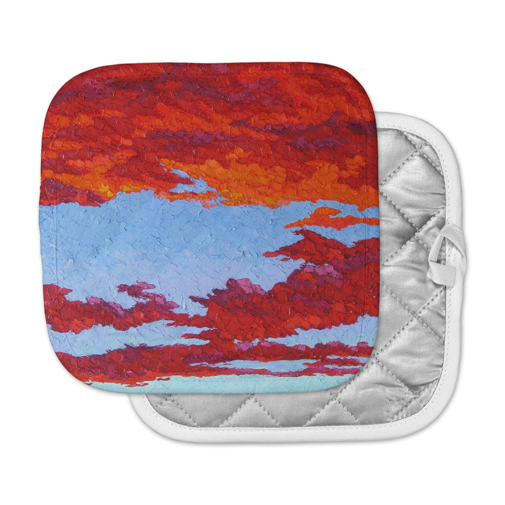 "Jeff Ferst ""Spring Sunset Over Wildflowers"" Red Blue Pot Holder"