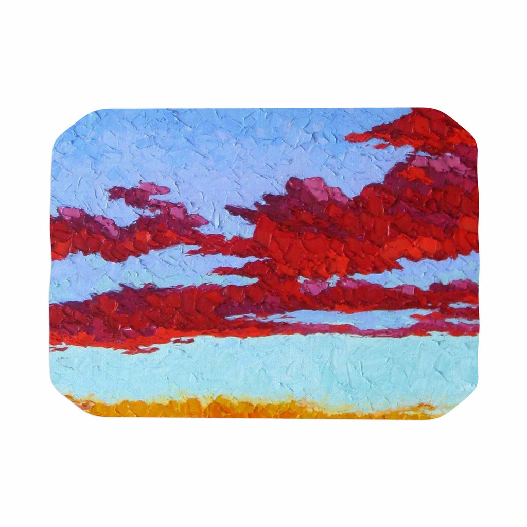 "Jeff Ferst ""Spring Sunset Over Wildflowers"" Red Blue Place Mat - KESS InHouse"