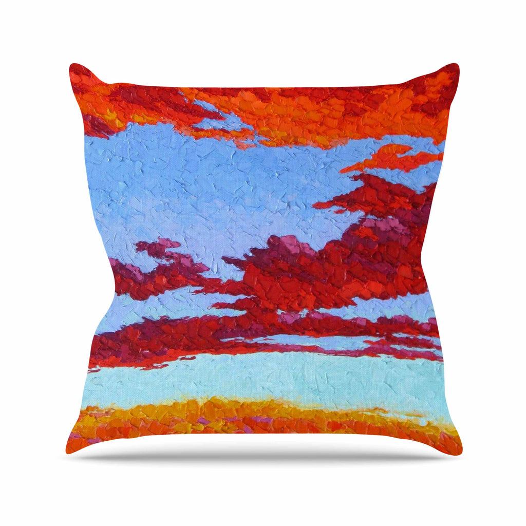 "Jeff Ferst ""Spring Sunset Over Wildflowers"" Red Blue Outdoor Throw Pillow - KESS InHouse  - 1"