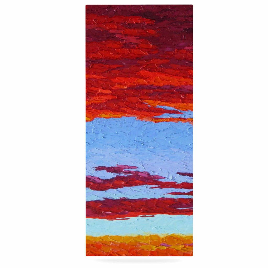 "Jeff Ferst ""Spring Sunset Over Wildflowers"" Red Blue Luxe Rectangle Panel - KESS InHouse  - 1"