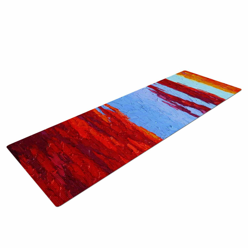 "Jeff Ferst ""Spring Sunset Over Wildflowers"" Red Blue Yoga Mat - KESS InHouse  - 1"