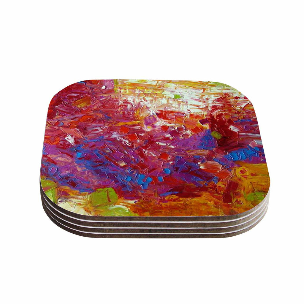 "Jeff Ferst ""Sonoran Fantasy"" Red Abstract Coasters (Set of 4)"