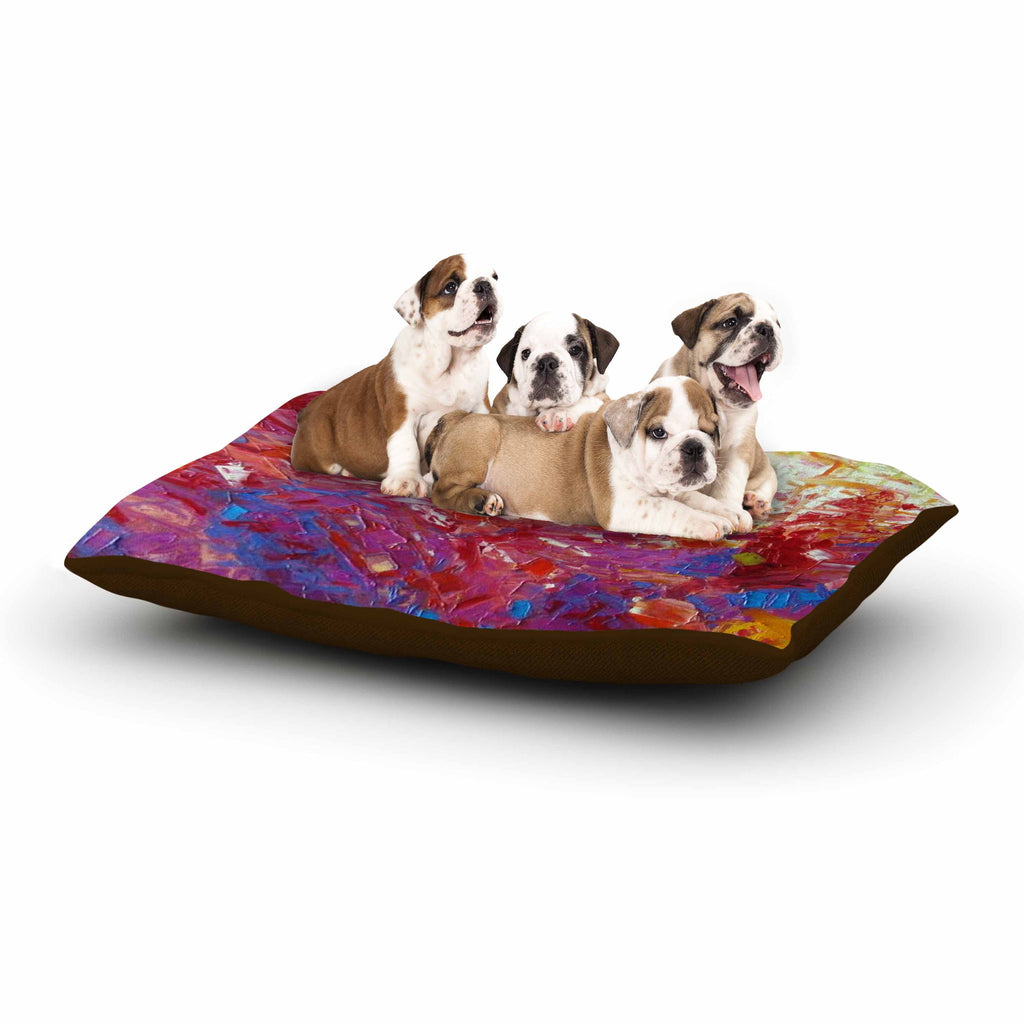 "Jeff Ferst ""Sonoran Fantasy"" Red Abstract Dog Bed - KESS InHouse  - 1"