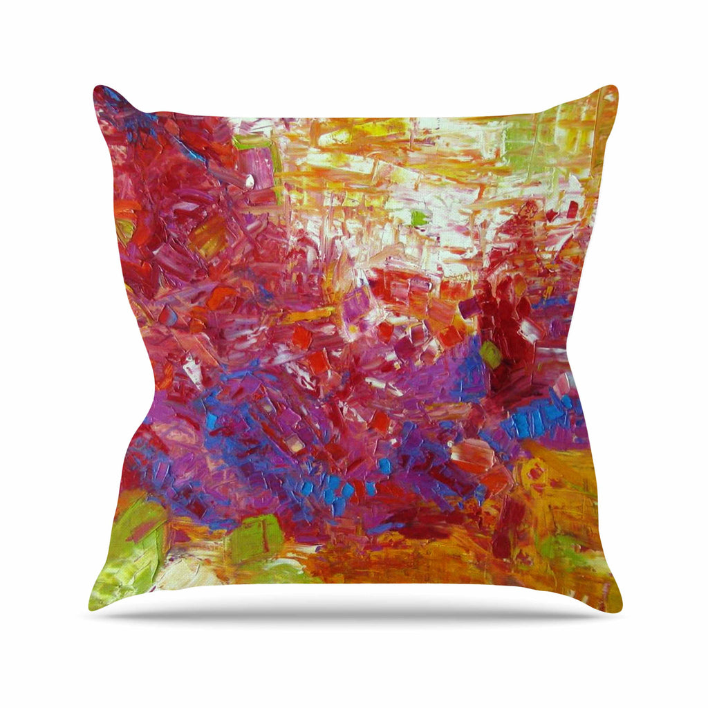 "Jeff Ferst ""Sonoran Fantasy"" Red Abstract Outdoor Throw Pillow - KESS InHouse  - 1"
