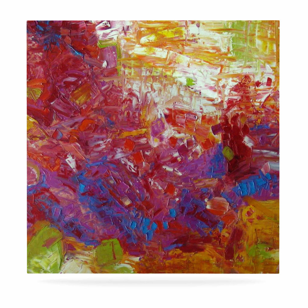 "Jeff Ferst ""Sonoran Fantasy"" Red Abstract Luxe Square Panel - KESS InHouse  - 1"