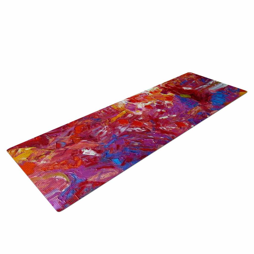"Jeff Ferst ""Sonoran Fantasy"" Red Abstract Yoga Mat - KESS InHouse  - 1"