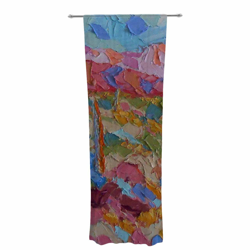 "Jeff Ferst ""Saguaros in Spring"" Blue Multicolor Decorative Sheer Curtain - KESS InHouse  - 1"
