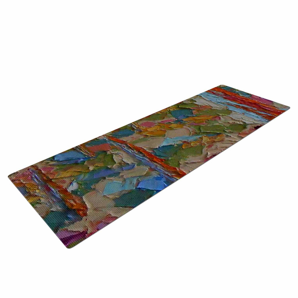 "Jeff Ferst ""Saguaros in Spring"" Blue Multicolor Yoga Mat - KESS InHouse  - 1"