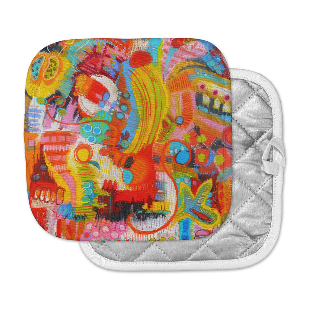 "Jeff Ferst ""Flower Power"" Abstract Multicolor Pot Holder"