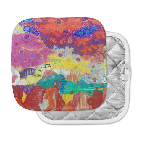 "Jeff Ferst ""Rainbow Clouds"" Yellow Gray Nature Modern Illustration Digital Pot Holder"