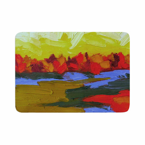 "Jeff Ferst ""Fall"" Yellow Orange Abstract Contemporary Painting Mixed Media Memory Foam Bath Mat"