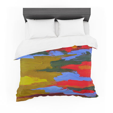 "Jeff Ferst ""Fall"" Yellow Orange Abstract Contemporary Painting Mixed Media Featherweight Duvet Cover"