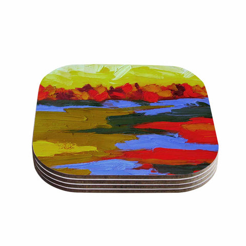 "Jeff Ferst ""Fall"" Yellow Orange Abstract Contemporary Painting Mixed Media Coasters (Set of 4)"