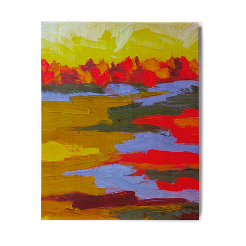 "Jeff Ferst ""Fall"" Yellow Orange Abstract Contemporary Painting Mixed Media Birchwood Wall Art"